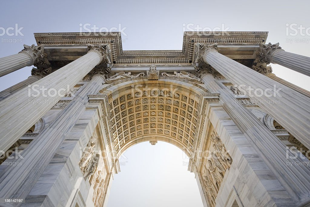 arch of peace, milan stock photo