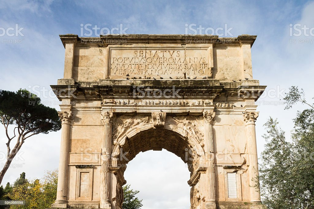 Arch of Titus at the Forum Romanum stock photo