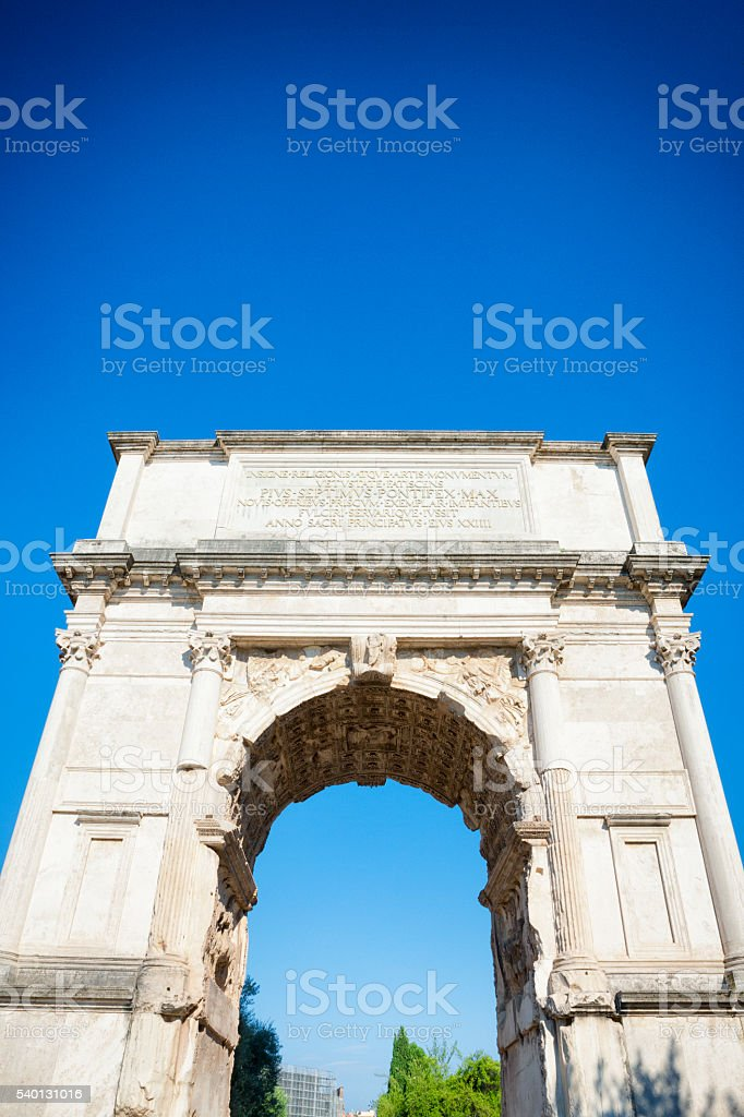 Arch of Titus at the Roman Forum in Rome, Italy stock photo
