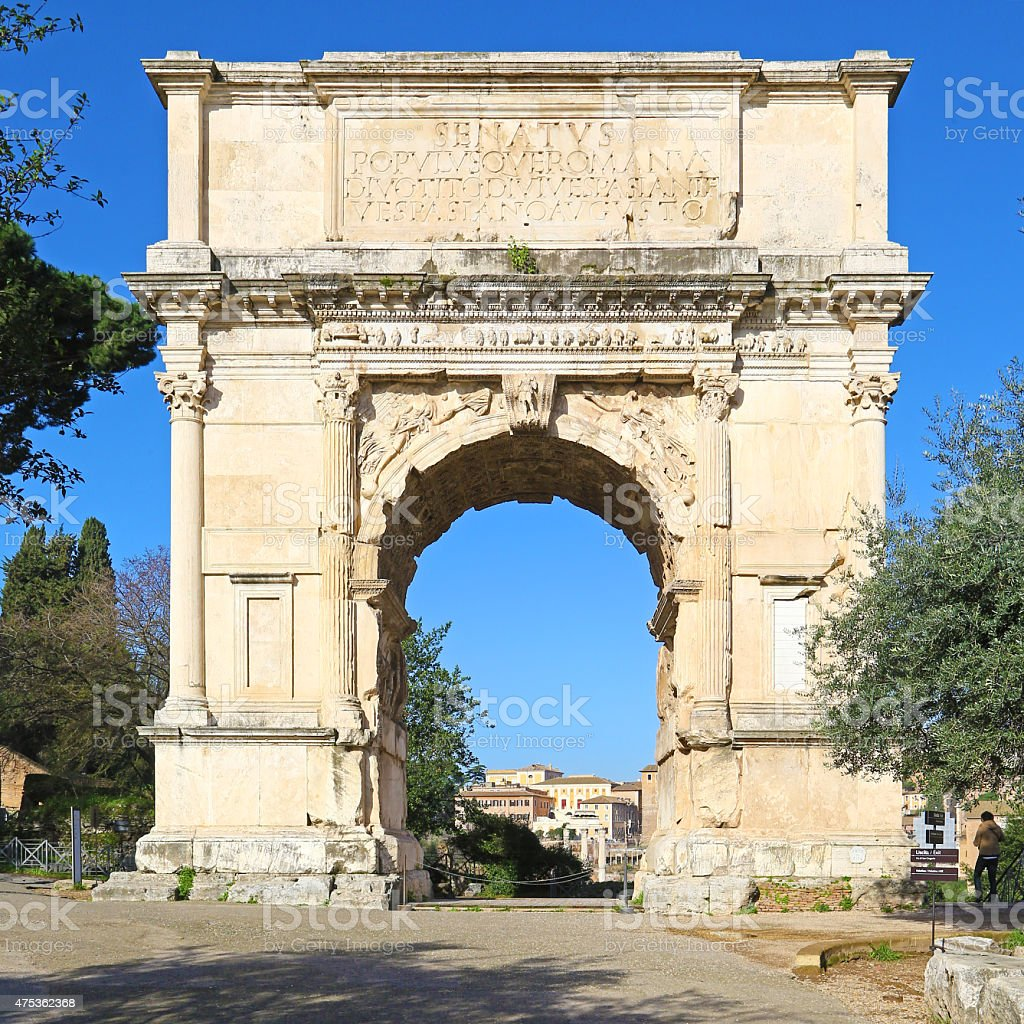 Arch of Titus in Rome, square composition stock photo