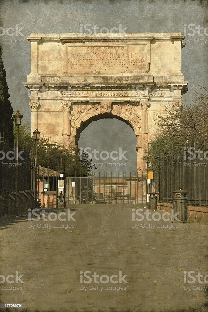 Arch of Titus in Rome - Vintage stock photo