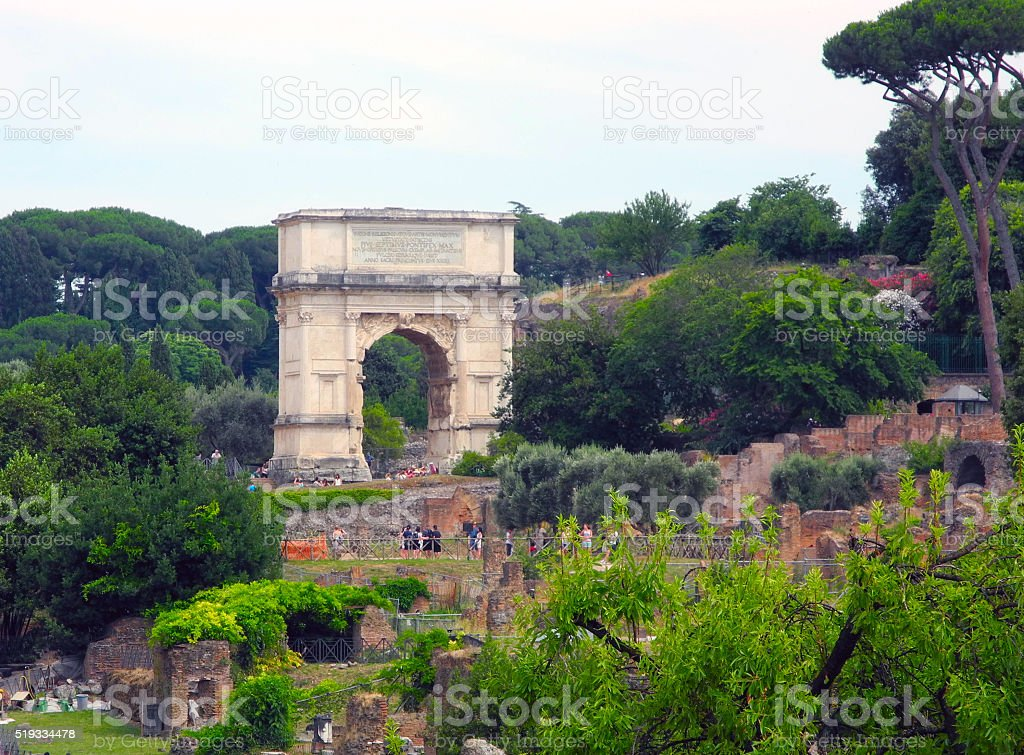Arch of Titus, Roman Forum. stock photo
