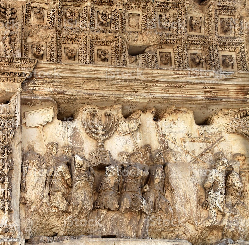 Arch of Titus showing Jerusalem conquered stock photo
