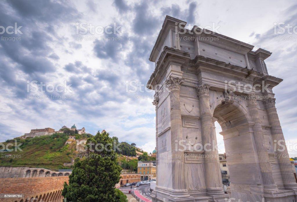 Arch of Trajan, Ancona, Italy stock photo
