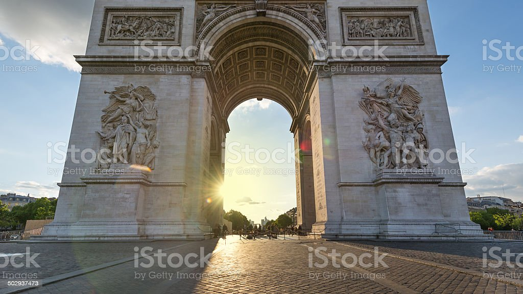 Arch of Triumph in Paris, France. stock photo
