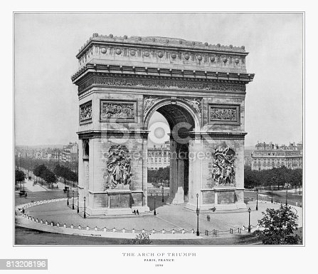 Antique Paris Photograph: Arch of Triumph, Paris, France, 1893. Source: Original edition from my own archives. Copyright has expired on this artwork. Digitally restored.