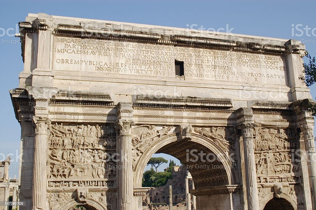 arch on Roman forum stock photo