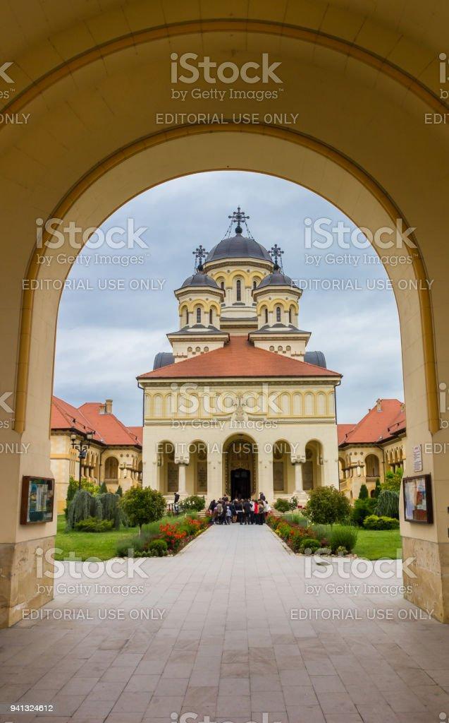 Arch over the orthodox cathedral in the citadel of Alba Iulia, Romania stock photo