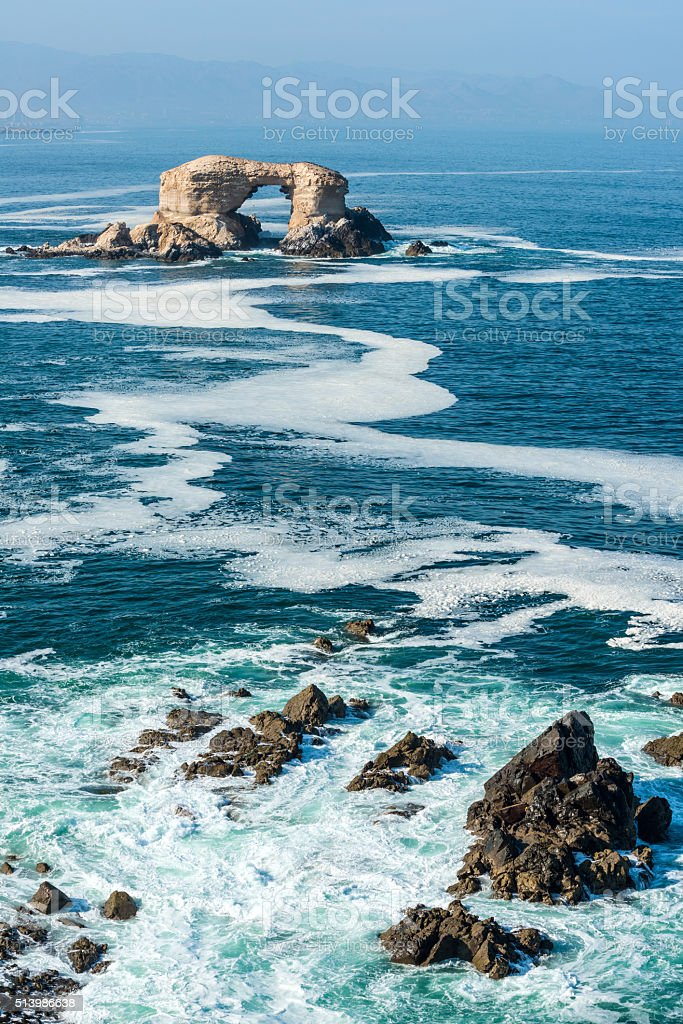 Arch Rock Formation in La Portada National Reserve stock photo