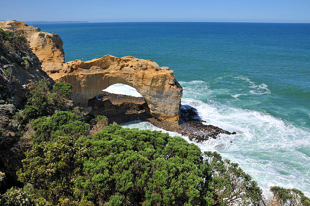 Arch rock formation on the Great Ocean Road, Victoria, Australia stock photo