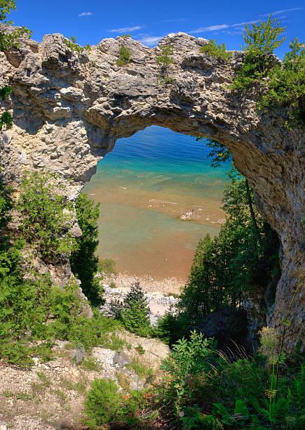 arch rock, mackinac island, michigan - mackinac island stock photos and pictures