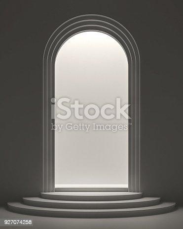 istock Arch shape door with light inside 3d rendering image 927074258