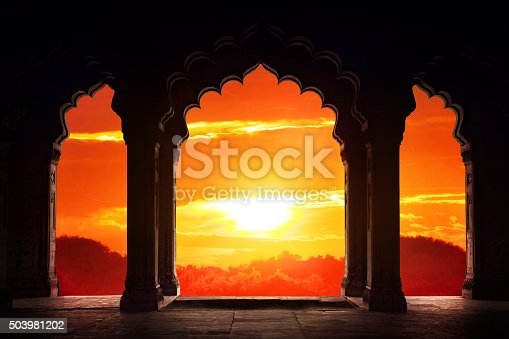 istock Arch silhouette at sunset 503981202