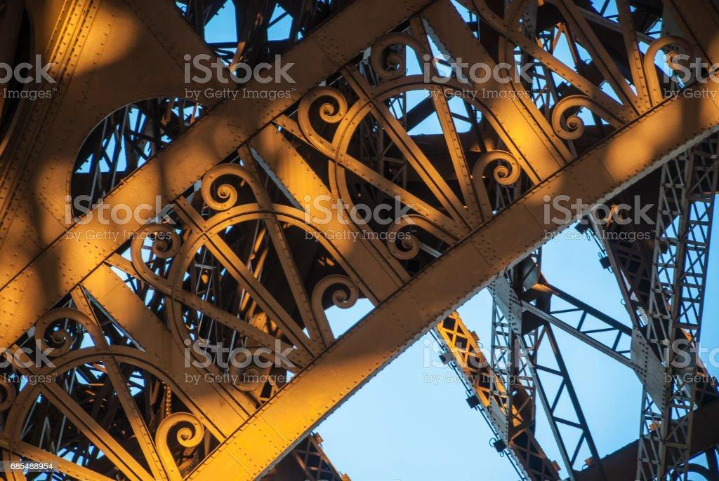 Arch structure Eiffel Tower Tour Eiffel blue sky steel structure in evening sunset sun stock photo