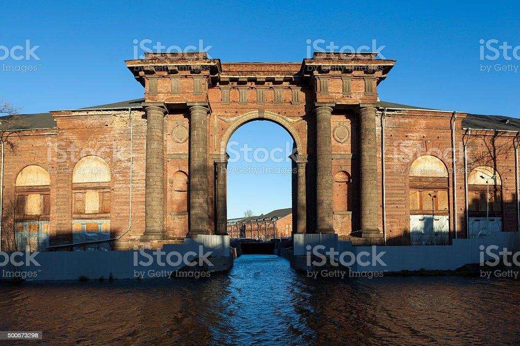 Arch Vallin de la Mothe. New Holland Island, St. Petersburg. stock photo