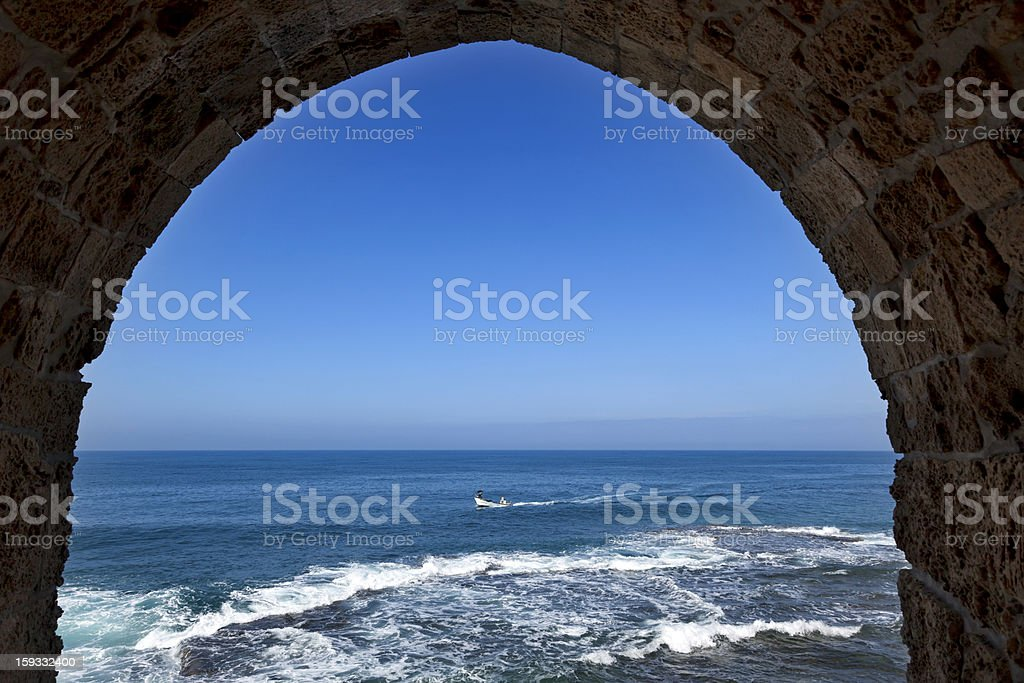 Arch View to the Sea royalty-free stock photo