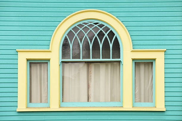Arch Window Clapboard Siding Victorian Architecture stock photo