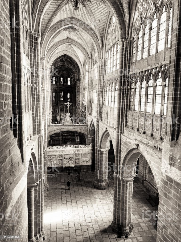Arch windows gallery at Ávila's cathedral, Spain. stock photo