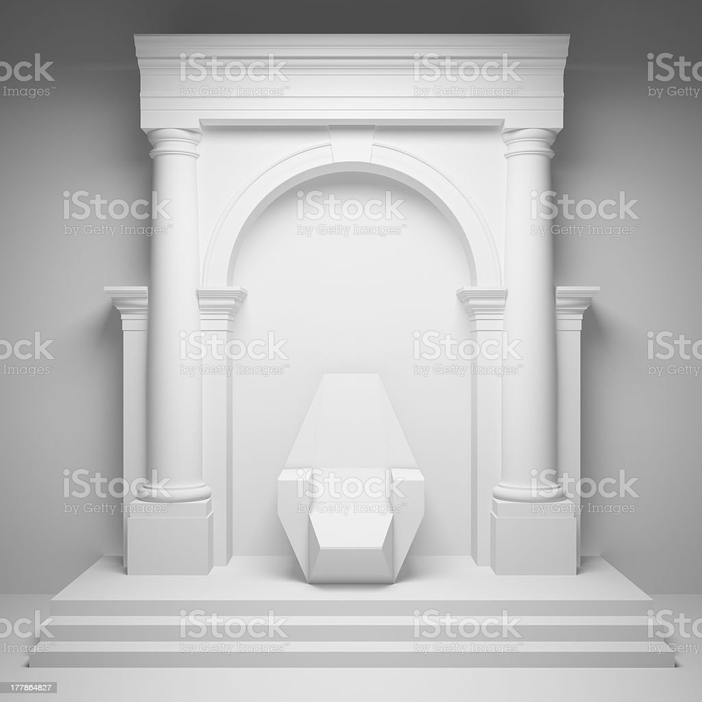 Arch with throne stock photo