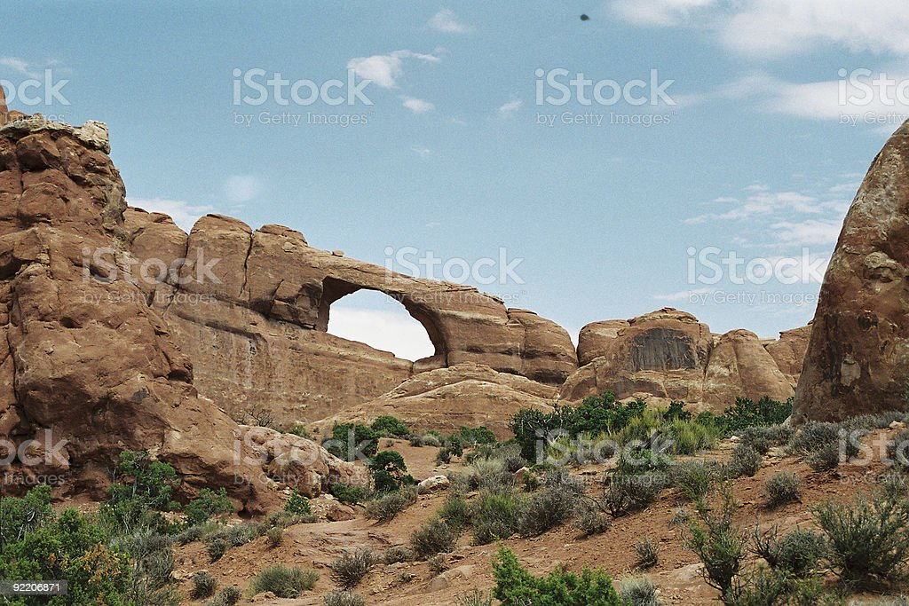 Arch with UFO royalty-free stock photo