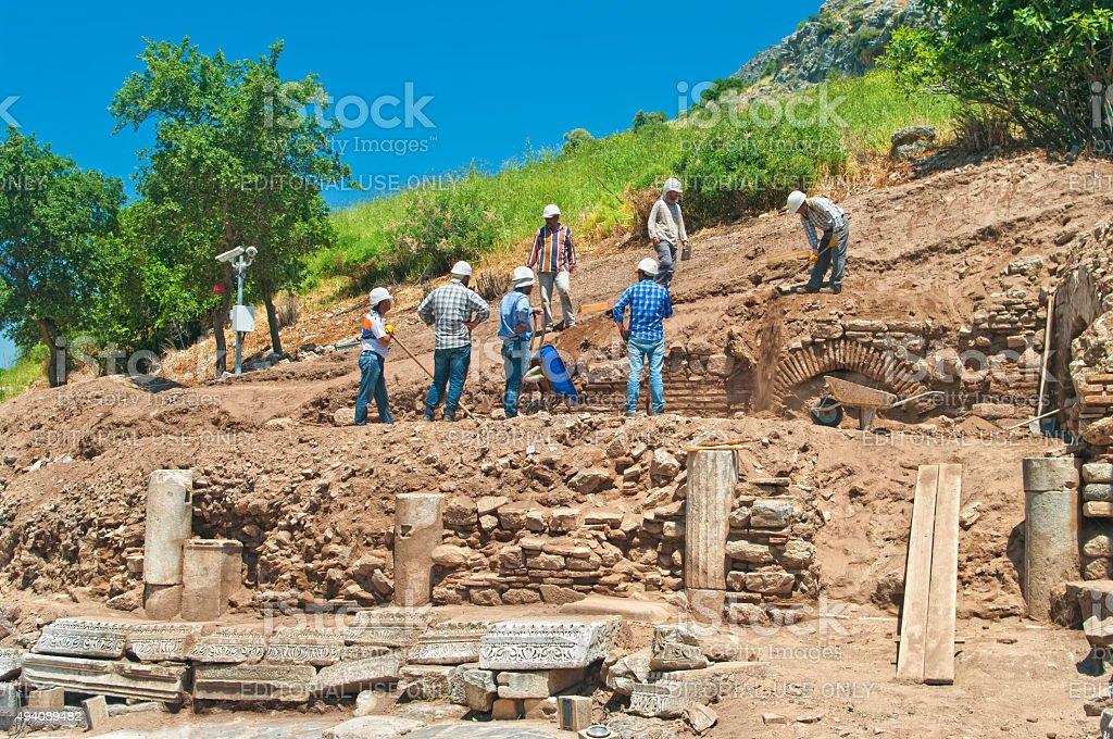 archaeoligists at excavation sight stock photo