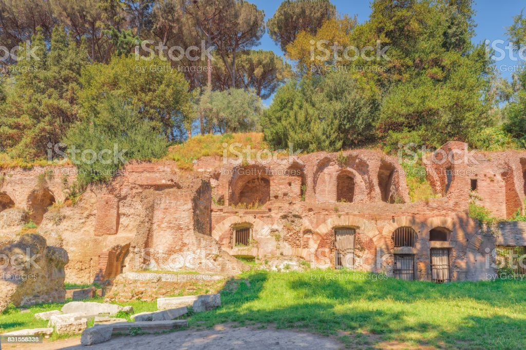 Archaeological and historical objects in Rome, united by the name - Roman Forum. Roman Forum and Palatine Hill. stock photo