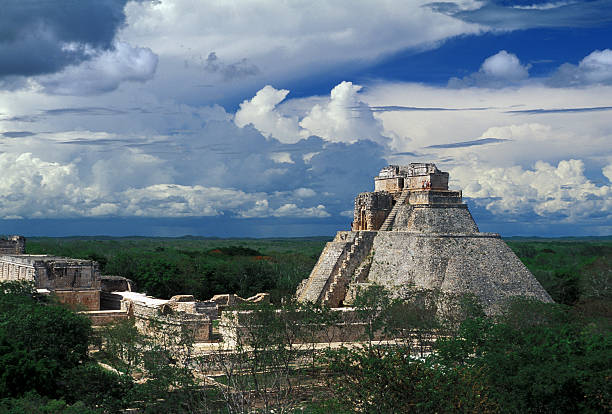 archaeological area of uxmal - uxmal stock photos and pictures