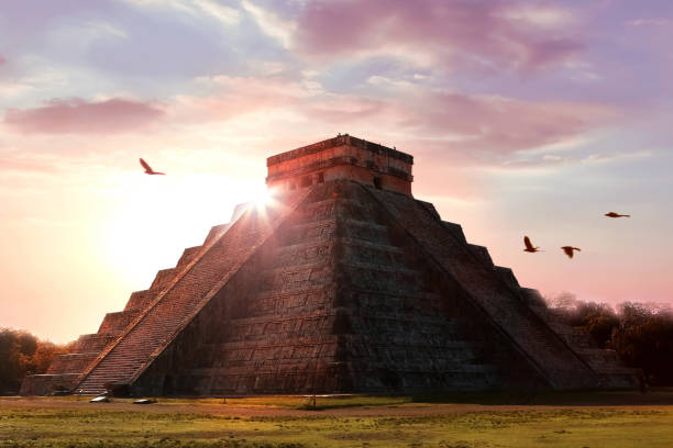 Archaeological complex Chichen Itza. Mayan pyramid on the background of a beautiful sunset. Temple of Kukulkan. Mexico. Yucatan. Archaeological complex Chichen Itza. Mayan pyramid on the background of a beautiful sunset. Temple of Kukulkan. Mexico. Yucatan. ancient civilization stock pictures, royalty-free photos & images