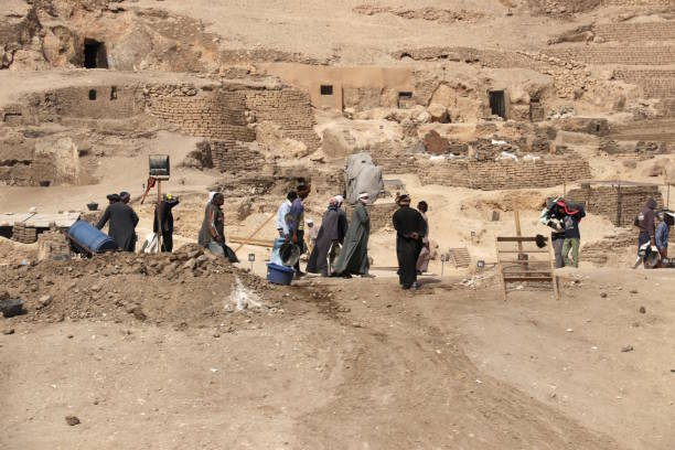 Archaeological excavation in the Valley of the Kings, Egypt stock photo