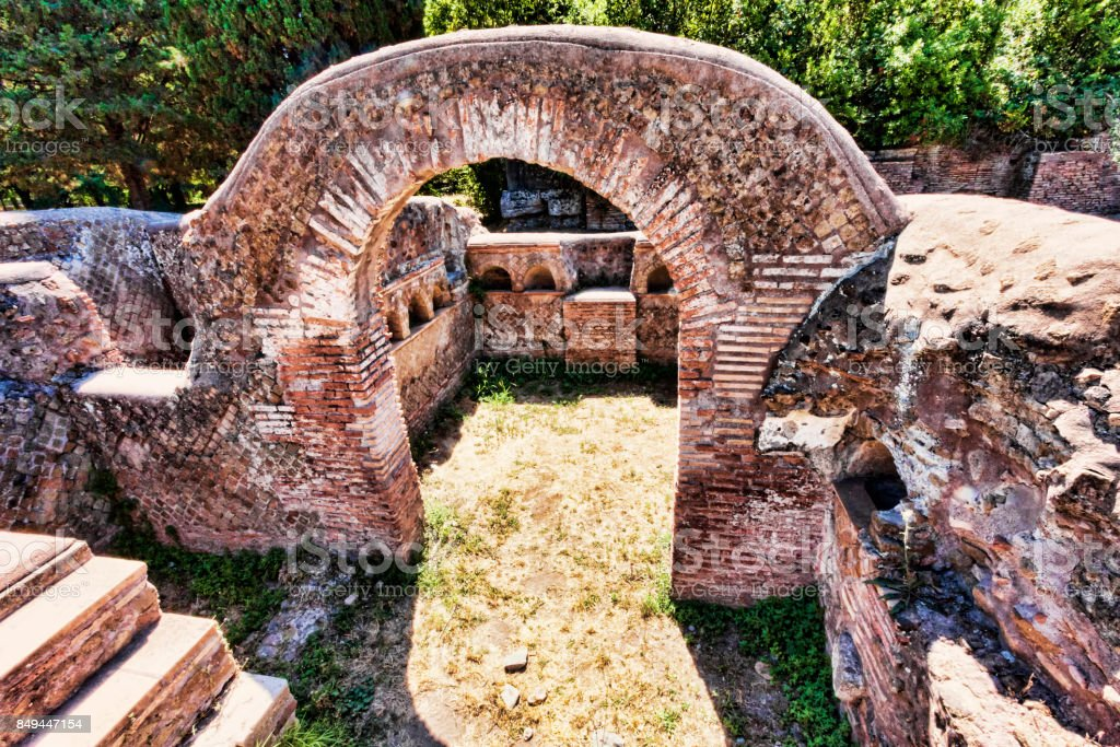 Archaeological excavations of Ostia Antica: Top view of a twin colombarium stock photo