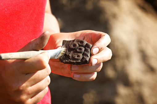Archaeological find-part of a medieval broken clay vessel