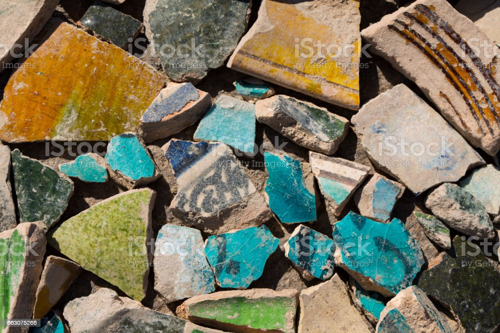 Archaeological finds - shards of ancient pottery vessels stock photo