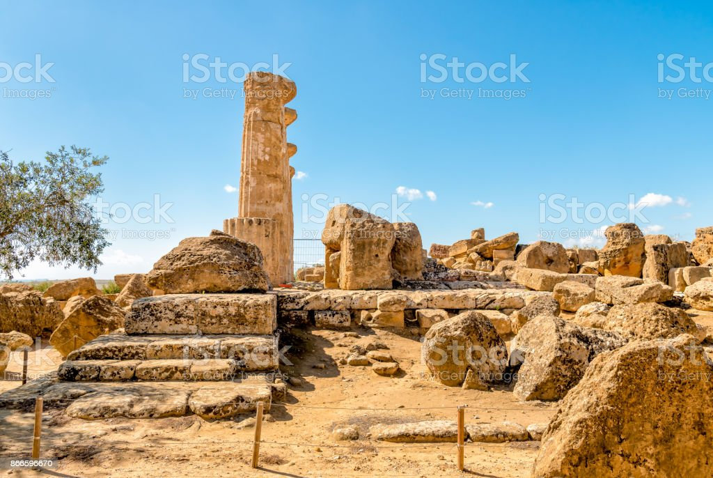Archaeological Park of the Valley of the Temples in Agrigento stock photo