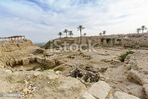 Archaeological remains in Tel Megiddo National Park. Northern Israel