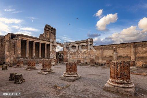 Archaeological ruin of ancient Roman city Pompeii, Italia