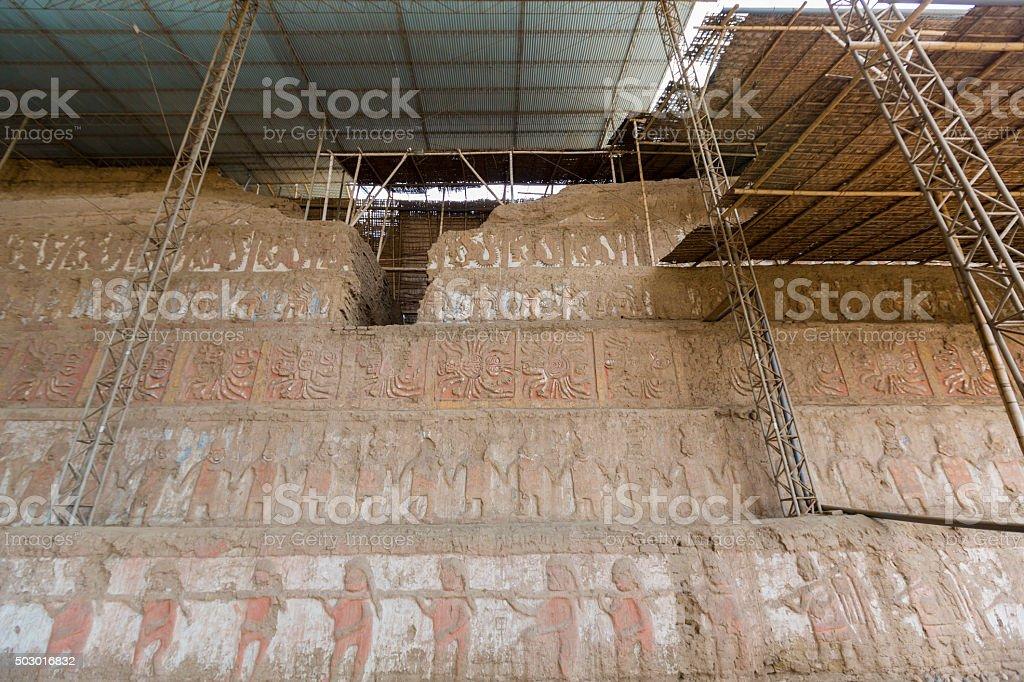 Archaeological site Huaca del Sol y de la Luna, Peru stock photo