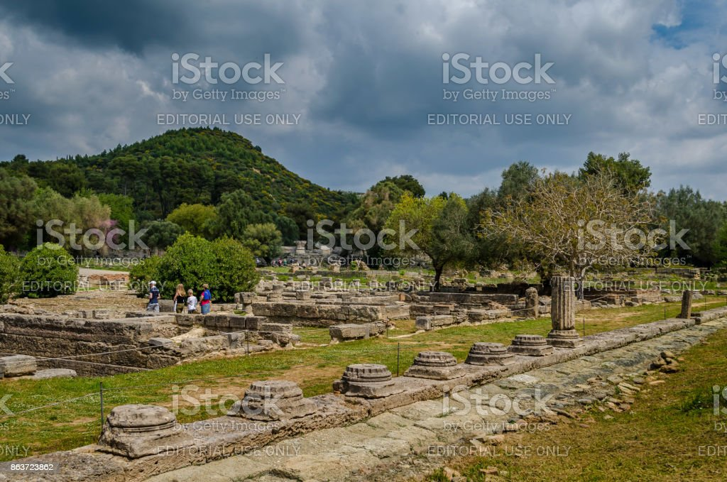 Archaeological site of ancient Olympia. The stadium was the location of the sporting events at the ancient olympic games. stock photo