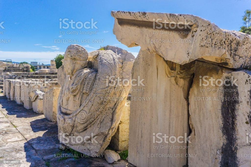 Archaeological site of Eleusis (Eleusina). Roman sculptures stock photo
