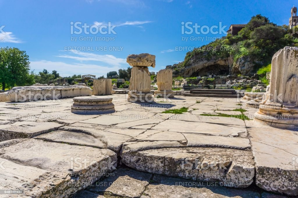 Archaeological site of Eleusis (Eleusina). The Greater Propylaia (monumental gateway in Greek architecture), which facing Athens and formed as the main entrance to the Sanctuary in Roman period stock photo