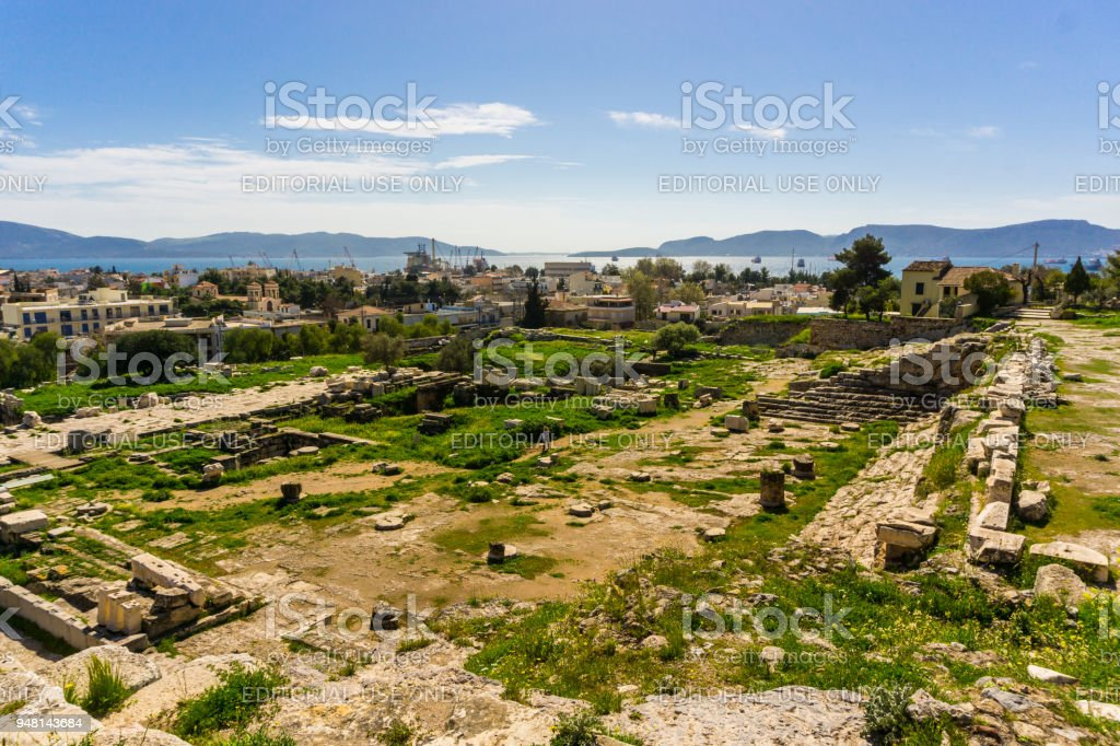 Archaeological site of Eleusis (Eleusina). The Telesterion was built in the Mycenaean period as a home for Demeter. Later on, it became the hall in which events dedicated to Demeter and Persephone were reenacted and the pilgrims were initiated into the My stock photo