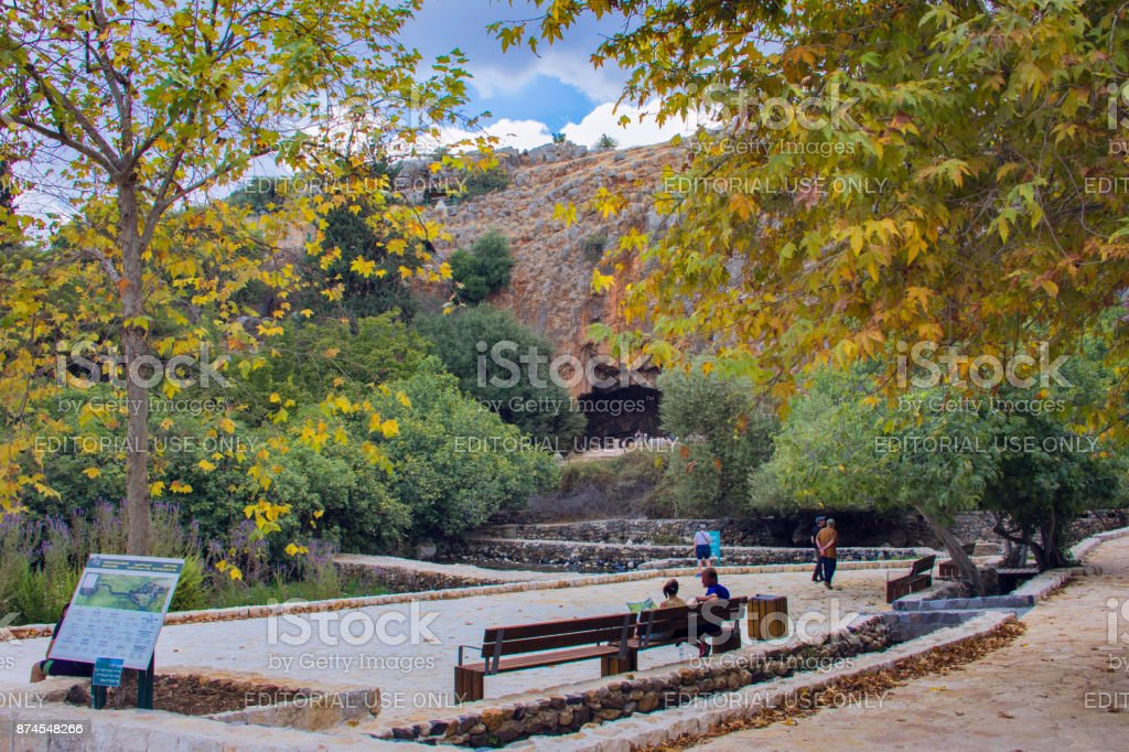 Archaeological site - the cave of God Pan in Banias National Park, Israel. stock photo