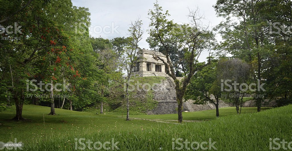 Archaeological structure in form of pyramid  ancient Mayan city Palenque, royalty-free stock photo