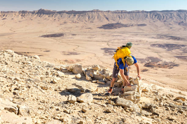 Archaeologist building moving ancient desert stones building wall. stock photo