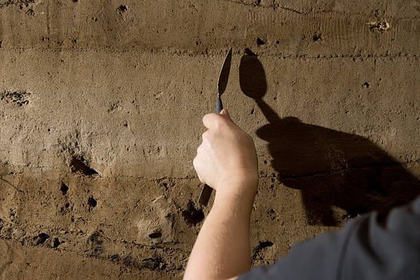 Archaeologist in Aswan rescue excavation, Egypt stock photo