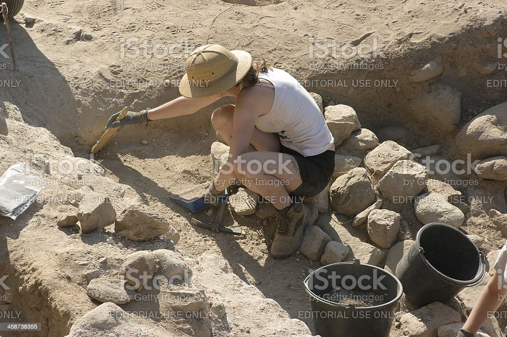 Archaeologist In Heraclea Lyncestis Excavation, Bitola - Macedonia Republic stock photo