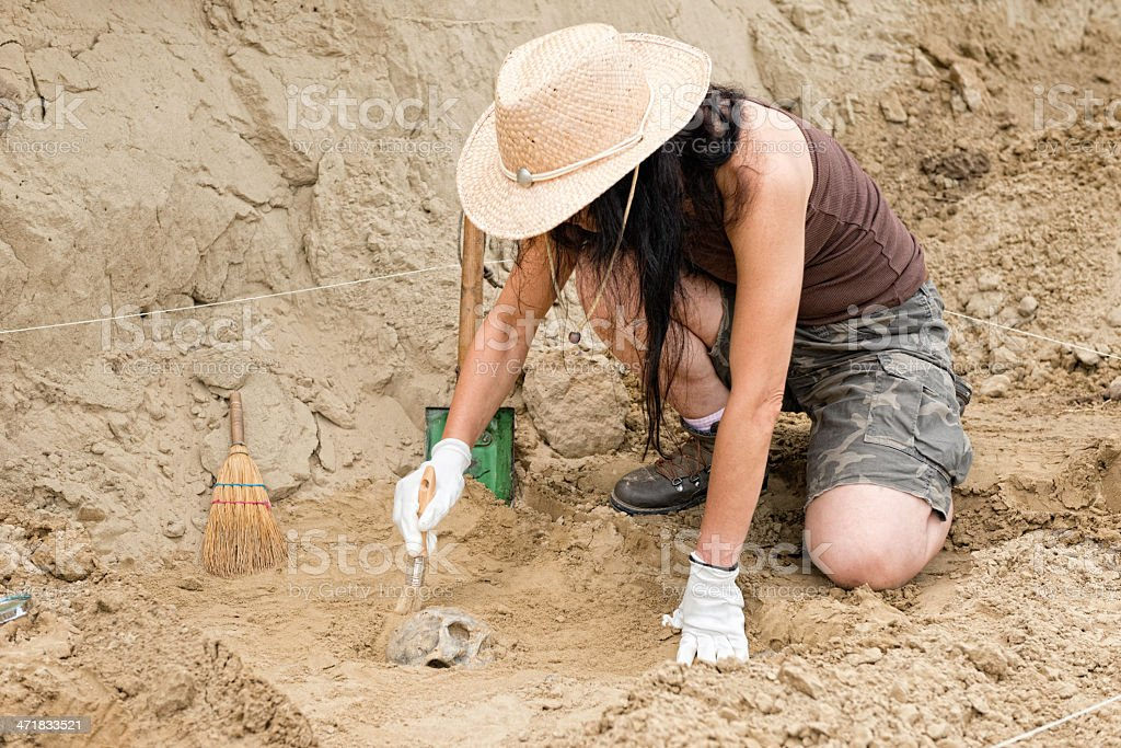 Archaeologist in the field stock photo