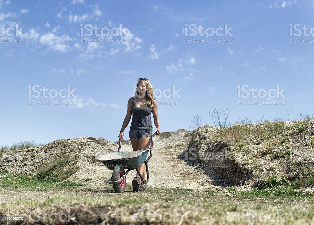 Archaeologist pushing wheelbarrow stock photo