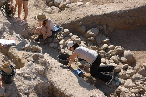 Archaeologists In Heraclea Lyncestis Excavation, Bitola - Macedonia Republic stock photo