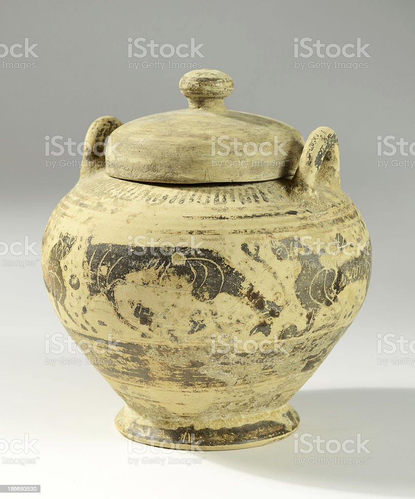 Archaic Corinthian Pottery Pixis/Jar with Lid stock photo