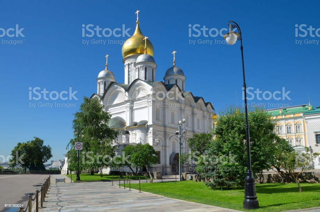 Archangel Cathedral in the Moscow Kremlin, Moscow, Russia stock photo